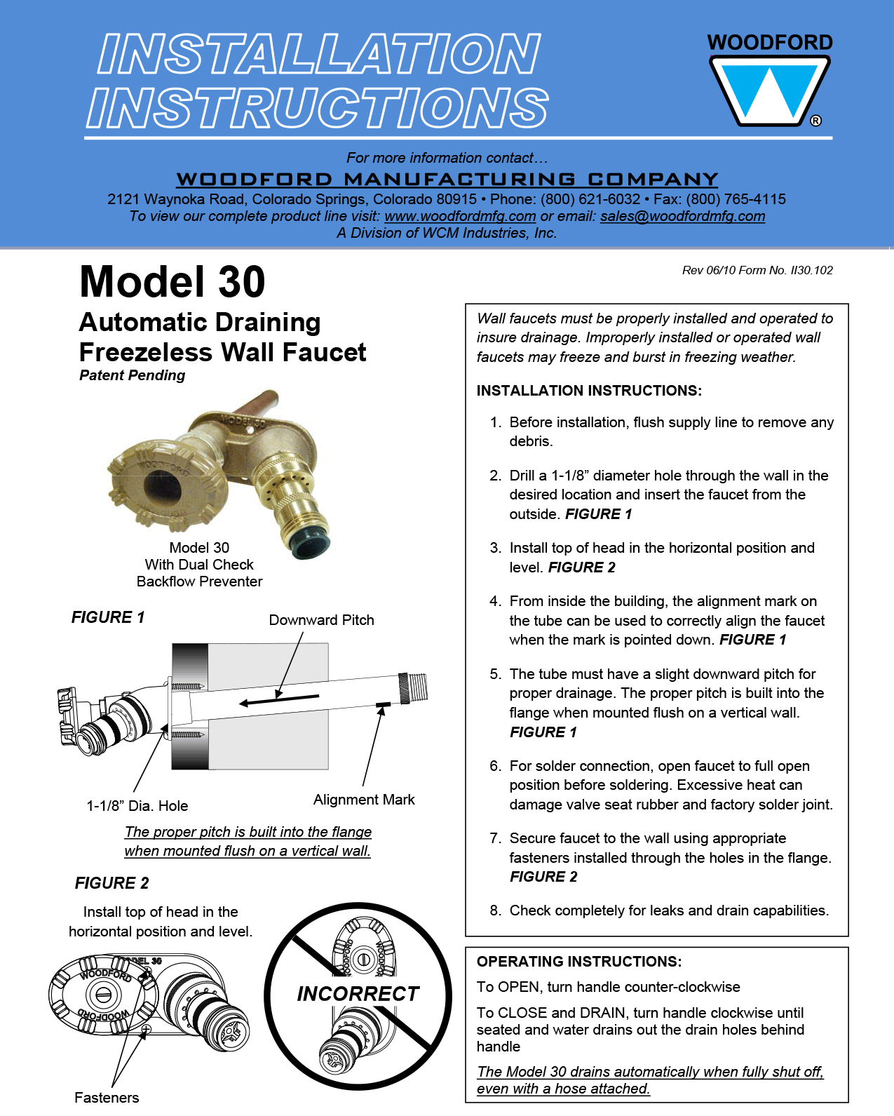 Woodford Model 30 Freezeless Faucet