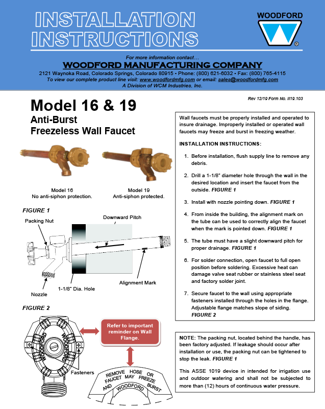 Woodford Model 16 Freezeless Faucet